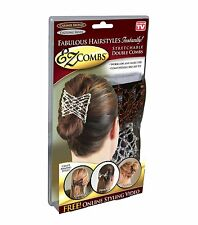 EZ Combs Stretchable Double Combs - Caramel Bronze/Dazzling Silver As Seen On TV
