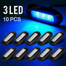 10* Led Oblong Marine Boat Trailer Courtesy Light Exterior Step Stair Lamp Blue