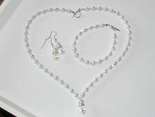 handmade pearl and crystal necklace bracelet and earings set white bridal prom
