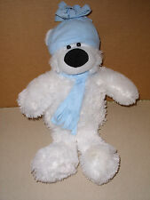 ORIENTAL TRADING CO. SOFT PLUSH STUFFED WHITE BEAR WITH BLUE HAT AND SCARF 16''