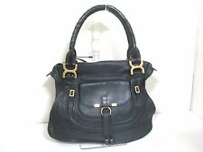 Authentic Chloe Black Marcie Leather Handbag w/Dust Bag & Shoulder Strap