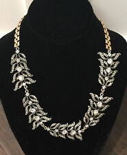 NWT Rare Lulu Frost Silver Pave Crystals Rococo Leaves Necklace Stunning