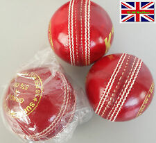 3 X Premium Quality SupremeTest 5 1/2 Oz Cricket Balls Red Hand Stitched Leather