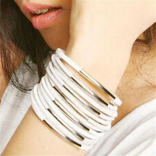 White Multi-layer PU Leather Wide Ring Cuff Bracelet Wristband Punk Gothic IB