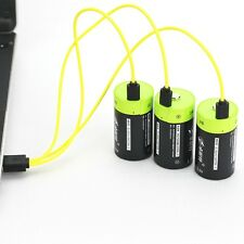 3pcs ZNTER 1.5V 6000mAh D Size Rechargeable Li-po Battery + USB Charging cable