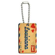 Air Mail Postcard Love for Louisiana Wood Wooden Rectangle Key Chain