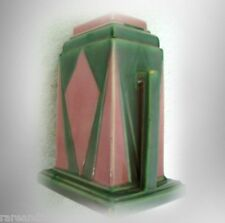 Roseville Futura vintage vase in green and pink colors