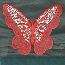 RED SILVER SEQUIN BUTTERFLY ✿ EMBROIDED IRON SEW ON Patch /Motif /AppliqueLRG 5""
