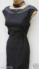 Rare KAREN MILLEN Classic Black PU trim Contrast Cocktail Wiggle Dress 14 UK
