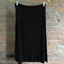 James Perse Pull On Skirt Black Cotton Foldover Waist Knee Length Loose Size M
