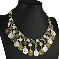 Vintage style silver and brass tone roman coin style charm choker necklace