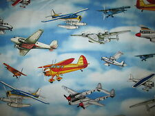 VINTAGE PLANE AIRPLANES FIGHTER PLANES SKY BLUE COTTON FABRIC BTHY