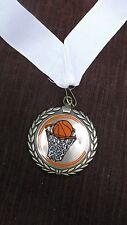 """color BASKETBALL net and ball 2 1/2"""" dia medal gold with wide white neck drape"""