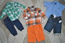 *Lot of 6pc* Boys 6-12M BabyGap Gymboree Ralph Lauren Plaid Shirts Pants Jeans