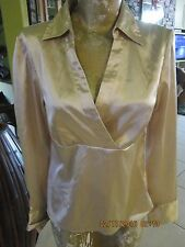 Beige  Over Empire  sateen Blouse Size S AB Studios