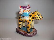 Vintage Mexican Folk Art Pottery CANDLEABRA Candle Holder LEOPARD Martinez