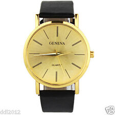 Geneva Fashion Men's Women's Watches Leather Band Gold Dial Simple Wrist Watches