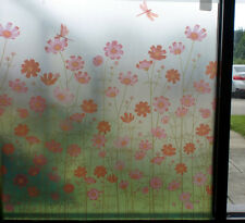 FROSTED DECORATIVE WINDOW FILM PINK & RED COUNTRY FLORAL 90cm x 1m Roll WT037