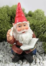 Miniature Fairy Garden GNOME WITH BOOK and quill Faerie Hobbit Mini NEW
