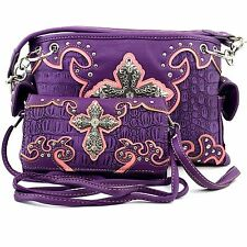 Trendy Cowgirl Purse Rhinestone Croc Skin Cross Shoulder Handbag Wallet Set PL