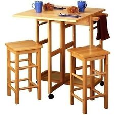 Pub Table Set 3 Piece W/ Stools Chairs Dining Kitchen For Small Spaces Drop Leaf
