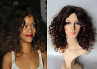 DELUXE RIHANNA AFRO BROWN BLONDE OMBRE CURLY HIGH FASHION CELEBRITY WIG
