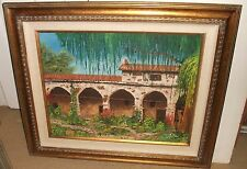 LAVENDER OLD CALIFORNIA MISSION LARGE OIL ON CANVAS PAINTING DATED 1971