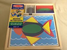 Melissa and Doug Beginner Pattern Blocks Wooden 10 Scenes 30 Wood Shapes New