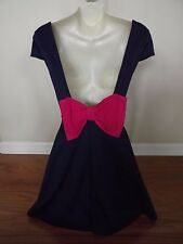 BEAUTIFUL Navy Blue pink flirty Dress SEXY Size Small UNIQUE BACK Bow Sundress s