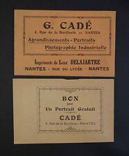 Carte de visite Visit card CDV NANTES Cadé Photo Imprimerie DELAJARTE portrait