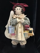 "VTG Sweet Handcrafted Country Maid, Ready to Clean - 14"" tall, Rustic Farm"
