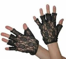 80's Black Lace Fingerless Gloves Madonna Ladies Lady 1980's Fancy Dress