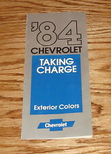 Original 1984 Chevrolet Passenger Car Exterior Colors Brochure 84 Camaro