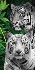 White Tigers Cats Jungle Wild Nature Velour Beach Pool Towel (30x60)
