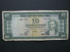 Turkey 10 Lira banknote, L.1930 series I8, F. P156.