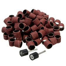 "100pcs 1/2"" Sanding Bands Sleeves & 2 Mandrels For Dremel Rotary Tools Kit"