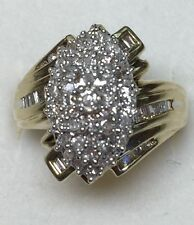1 ct natural (REAL)  DIAMOND ladies cluster ring chunky SOLID yellow GOLD