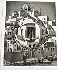 M C. Escher Balcony 14x11 Offset Lithograph Warped Glass Effect