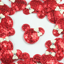 ON SALE 10pcs Red Padded Shiny Sequin Minnie Mouse Appliques Trim Sewing Crafts