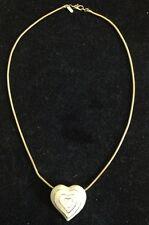 Signed Monet Cream Enamel Gold Tone Heart Pendant Slider Necklace / Choker