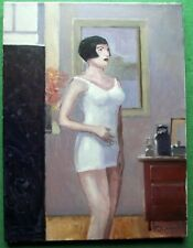 Art Deco Geisha Bob Hair Girl in Girdle : Original Oil Painting Zlatan Pilipovic
