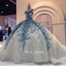 Luxury Blue Wedding Dress Puffy Sweetheart Flowers Appliques Bridal Gowns Custom