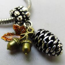 Autumn European Pendant Charm With Silver Pine Cone, Copper Acorn And Amber Leaf