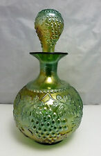 ANTIQUE NORTHWOOD GRAPE & CABLE GREEN CARNIVAL GLASS COLOGNE BOTTLE, c. 1910