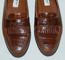 Belvedere Crocodile Mens Shoes HAND MADE IN ITALY Size 10M Brown Loafers Leather