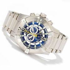 New Men's Invicta 0357 Luminary Swiss Chrono Blue Dial Stainless Steel Watch