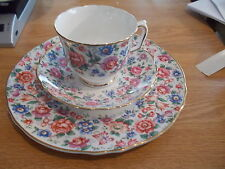 Crown Staffordshire Cup & Saucer TRIO -  SUMMERTIME