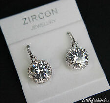 Classic Cubic Zirconia Cluster Hook Drop Dangling Earring UK New