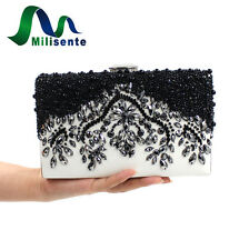 Milisente Women Handbags Lady Clutch Purse Beaded Vintage PU Bridal Shoulder Bag