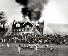 Vintage Football Game Continues While Fire Blazes, NFL, Like Joel Sternfeld USA